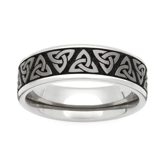Titanium Trinity Engraved 5mm Ring