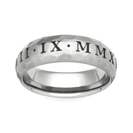 Titanium Roman Numeral Engraved 4mm Ring