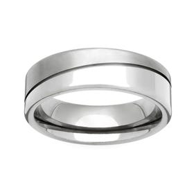 Titanium Diagonal Twin Finish 7mm Ring