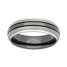 Zirconium Black Stripe 6mm Ring