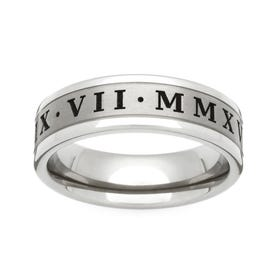 Titanium Flat Roman Numerals Engraved 6mm Ring