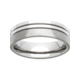 Titanium Twin Groove 6mm Ring