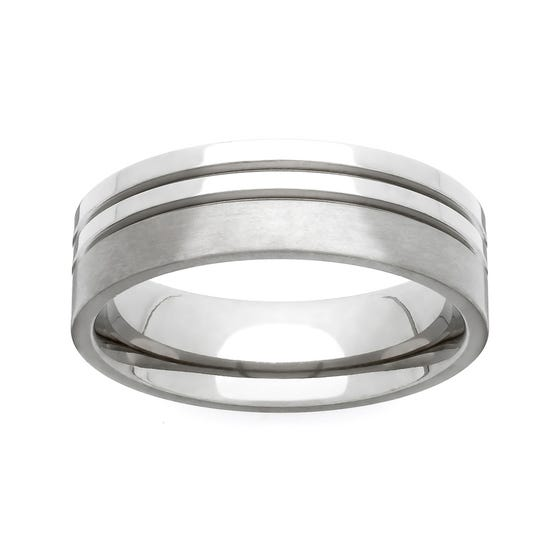 Titanium Twin Groove 6mm Ring