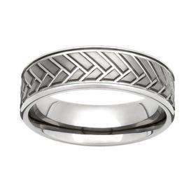 Titanium Herringbone 7mm Ring