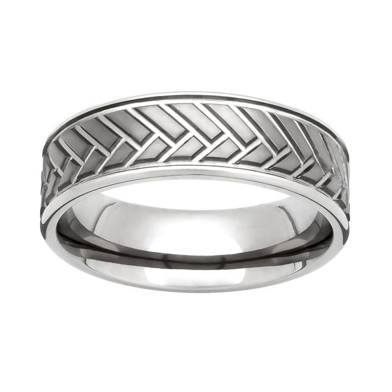 Titanium Herringbone 7mm Ring