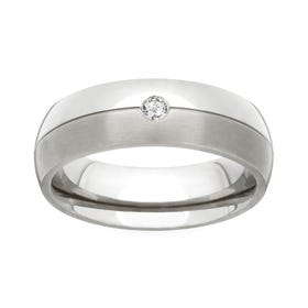 Titanium and Diamond 4mm Ring