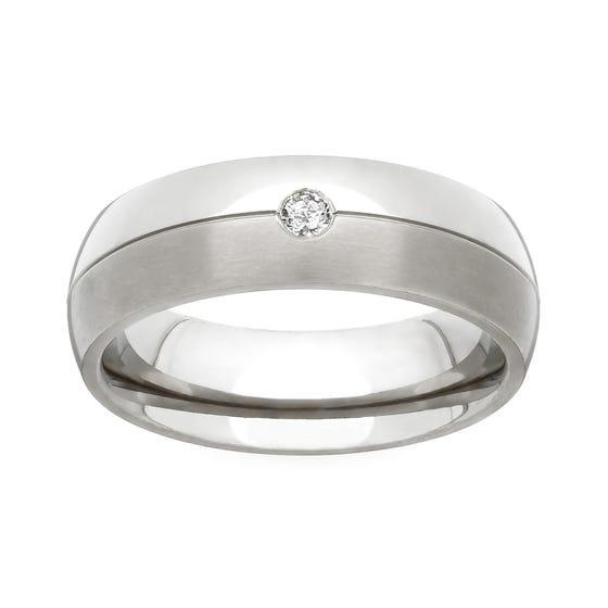 Titanium and Diamond 4mm Ring