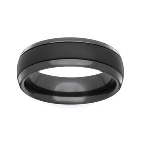 Zirconium Satin Brushed and Polished 4mm Ring