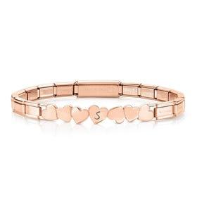 Trendsetter Rose PVD Plated Hearts Bracelet