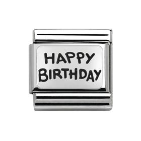 Silver Happy Birthday Classic Charm