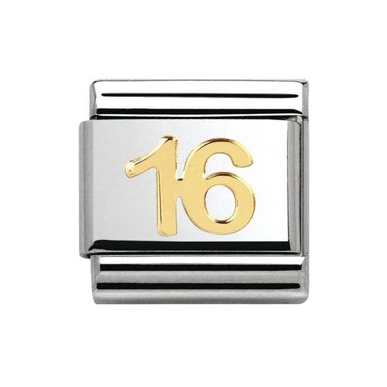 18ct Gold Sweet Sixteen Birthday Classic Charm