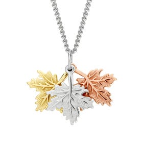 Wald Silver Triple Maple Leaf Necklace