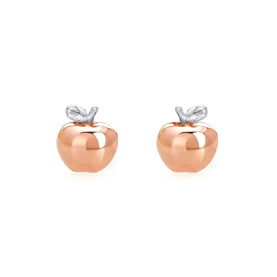 Wald Rose Gold Plated Silver Apple Stud Earrings