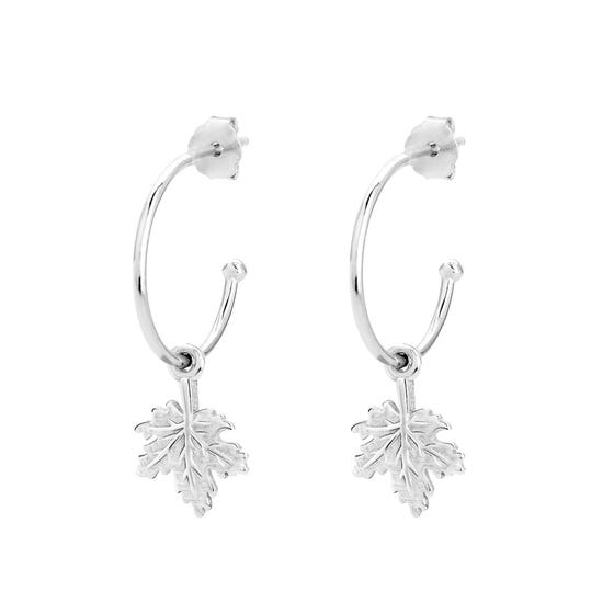 Wald Silver Maple Leaf Hoop Earrings
