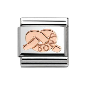 Promises Steel & 9ct Rose Gold Knot Of Bond Charm
