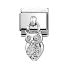 Charms Steel & Silver Owl Charm