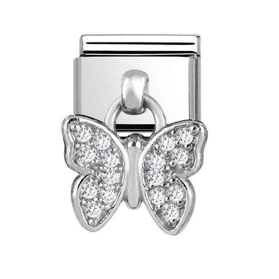 Charms Steel & Silver Butterfly Charm