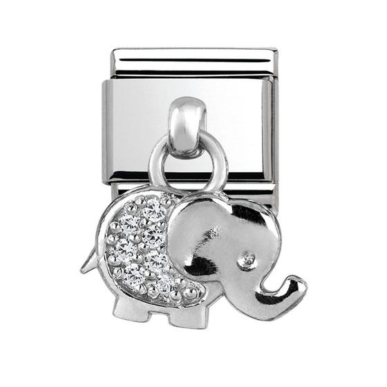 Charms Steel & Silver Elephant Charm