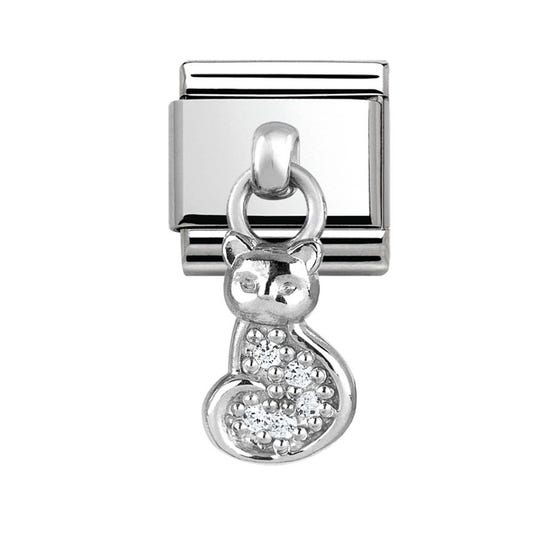 Charms Steel & Silver Cat Charm