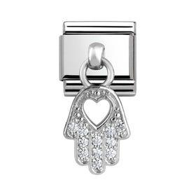 Charms Steel & Silver Hand Of Fatima Charm