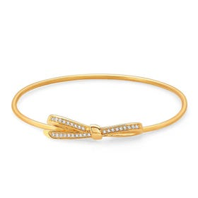 My Cherie Gold Plated & CZ Large Bow Bangle