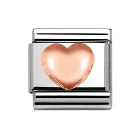 Steel & 9ct Rose Gold Raised Heart Charm