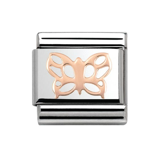 Steel & 9ct Rose Gold Butterfly Charm