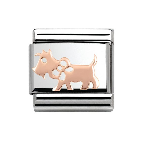 Steel & 9ct Rose Gold Dog Charm