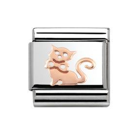 Steel & 9ct Rose Gold Cat Charm