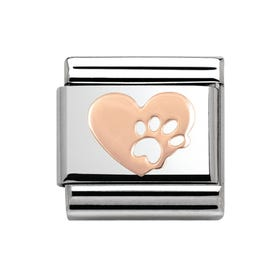 Steel & 9ct Rose Gold Heart with Paw Print Charm