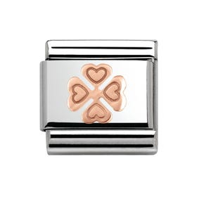 Steel & 9ct Rose Gold Four Leaf Clover Charm