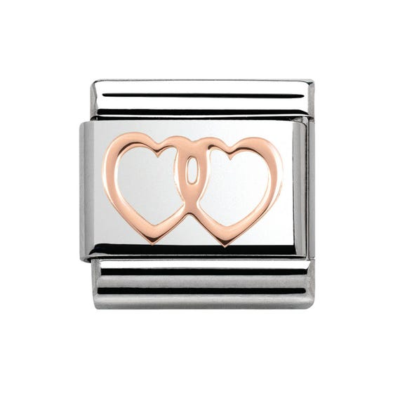 Steel & 9ct Rose Gold Double Hearts Charm
