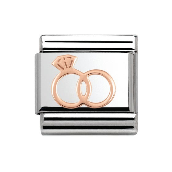 Steel & 9ct Rose Gold Wedding Rings Charm