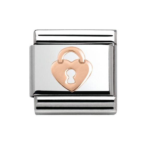 Steel & 9ct Rose Gold Heart Lock Charm