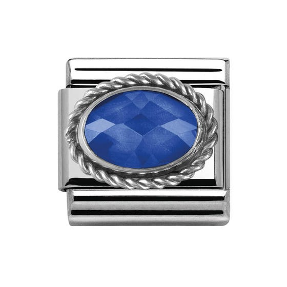 Stainless Steel & Silver Blue Faceted Cubic Zirconia Charm