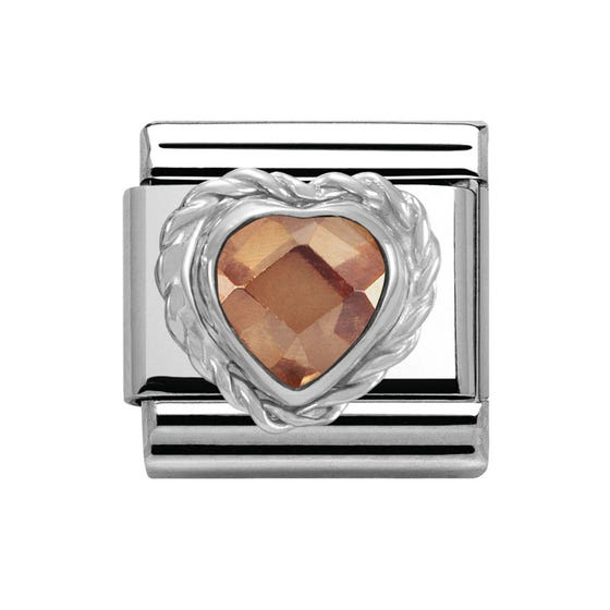 Stainless Steel & Silver Champagne Heart Cubic Zirconia Charm