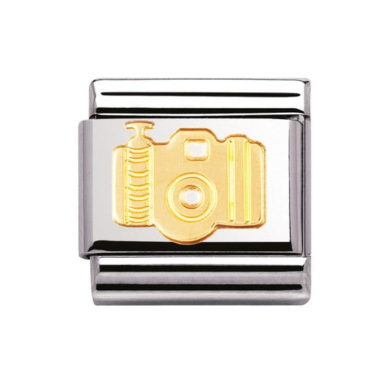 Steel & 18ct Yellow Gold Camera Charm