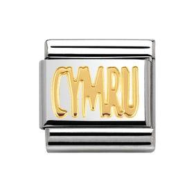 Steel & 18ct Yellow Gold CYMRU Charm