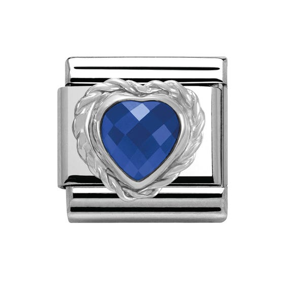Silver Blue Faceted Heart Charm