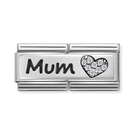 Classic Silver Mum Double Charm