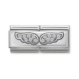 Classic Silver Angel Wings Double Charm