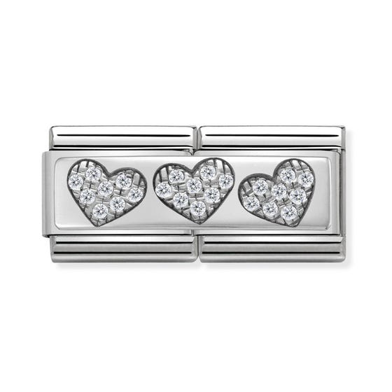 Classic Silver Three Hearts Double Charm