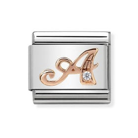 Classic Rose Gold Letter A Charm