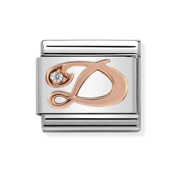 Classic Rose Gold Letter D Charm