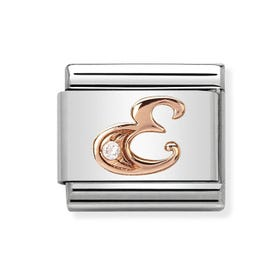 Classic Rose Gold Letter E Charm