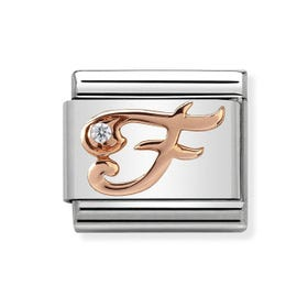 Classic Rose Gold Letter F Charm