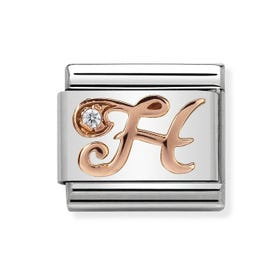Classic Rose Gold Letter H Charm
