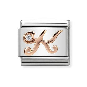 Classic Rose Gold Letter K Charm