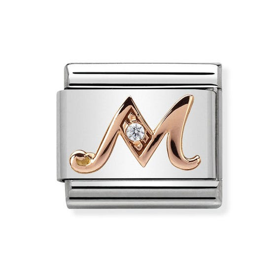 Classic Rose Gold Letter M Charm