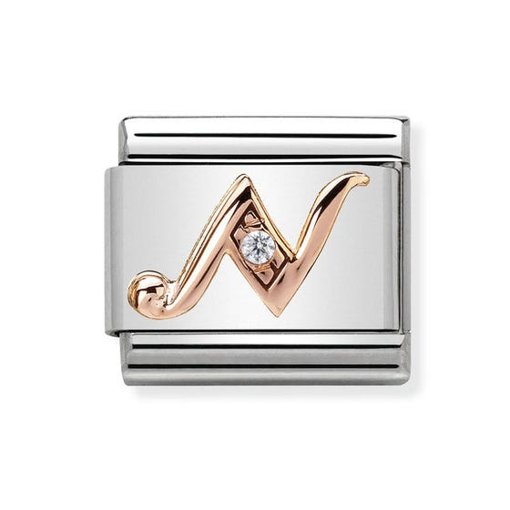 Classic Rose Gold Letter N Charm